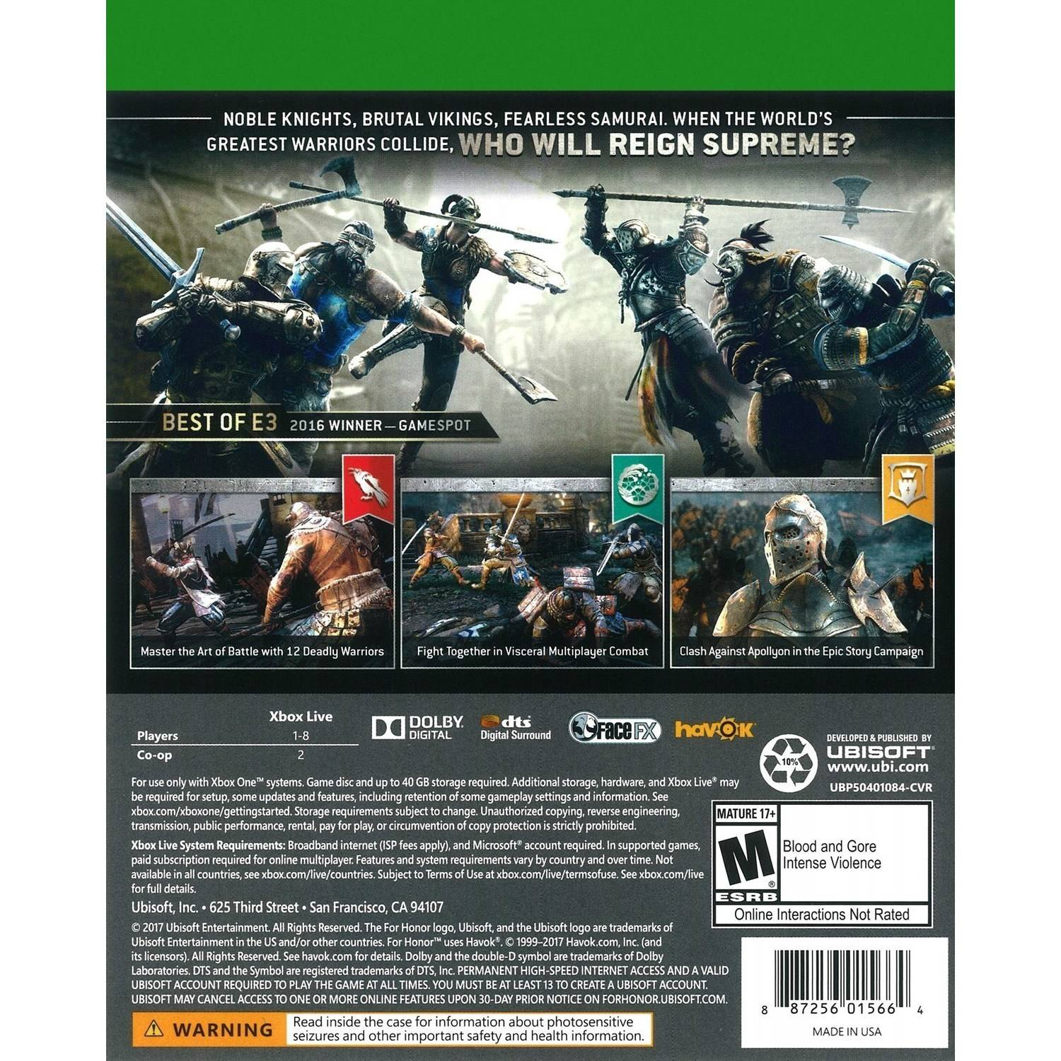 For Honor Day 1 Edition, Ubisoft, Xbox One, 887256015664 - Walmart com