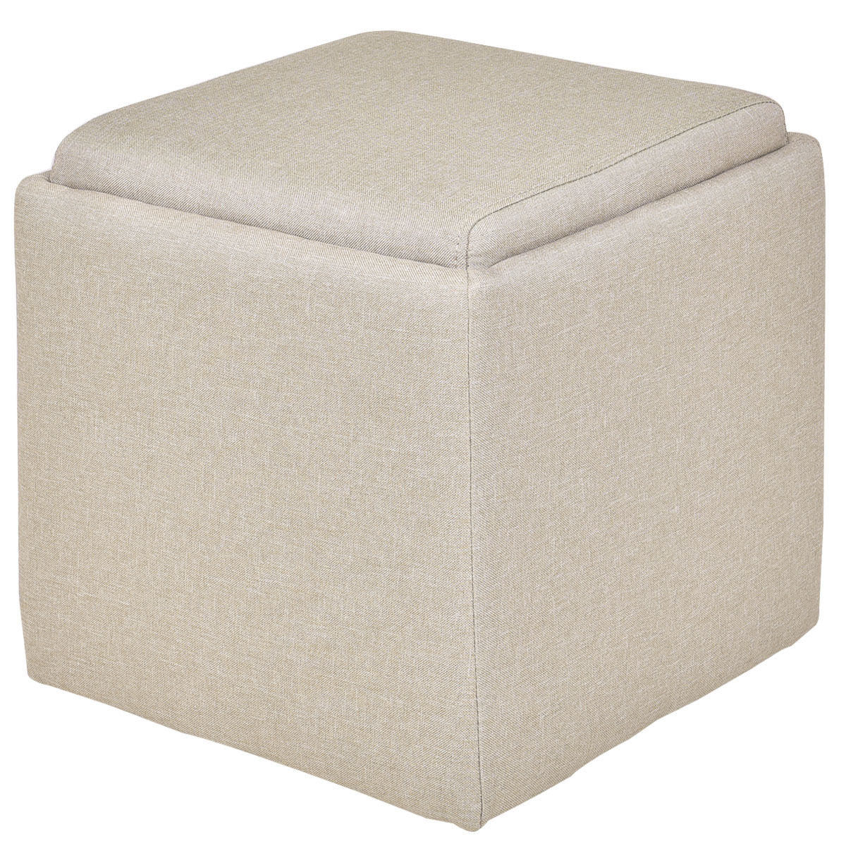 Gymax Beige Linen Storage Box Ottoman Square Foot Stool Wood Frame