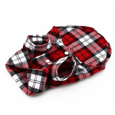 Greensen Material: cotton,New Small Pet Dog Puppy Plaid T Shirt Lapel Coat Cat Jacket Clothes Costume Red M - image 4 of 7