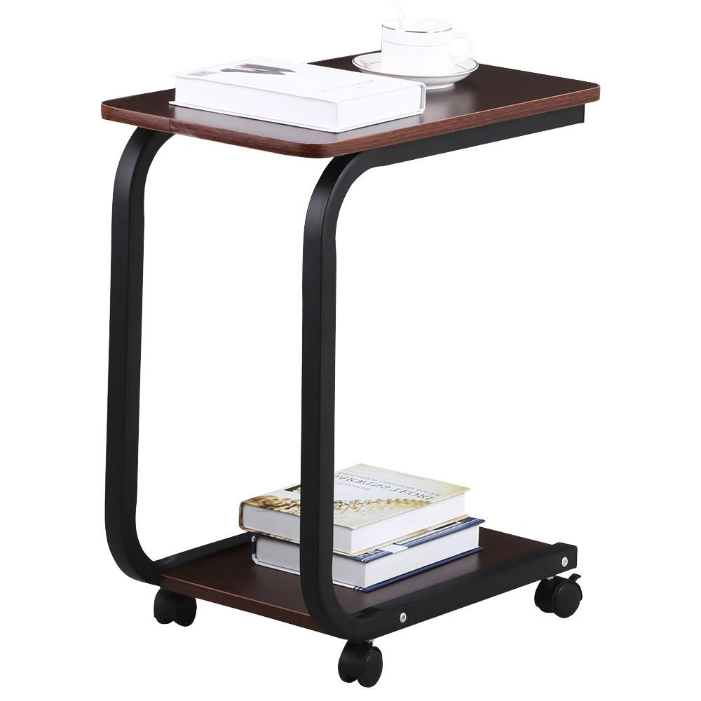 yaheetech living room 2 tier black sofa side end snack table tray coffee tables with wheels