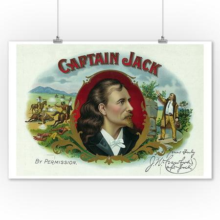 Captain Jack Brand Cigar Box Label (9x12 Art Print, Wall Decor Travel