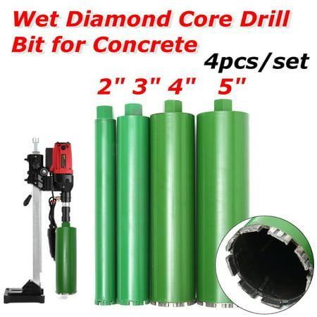 4Pcs 2'' 3'' 4'' 5'' Combo Wet Diamond Core Drill Bit for Concrete Premium - Premium Core Drill Bit