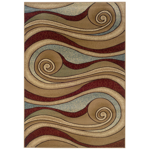 LR Resources Adana Swirling Brown/Blue Area Rug