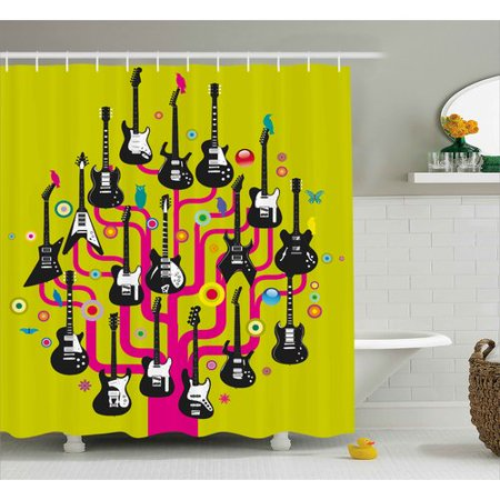 Zoomie Kids Lucius Guitars For Rock Stars Shower Curtain Hooks