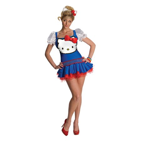Hello Kitty Costume For Girls (Hello Kitty Blue Classic Adult Costume -)