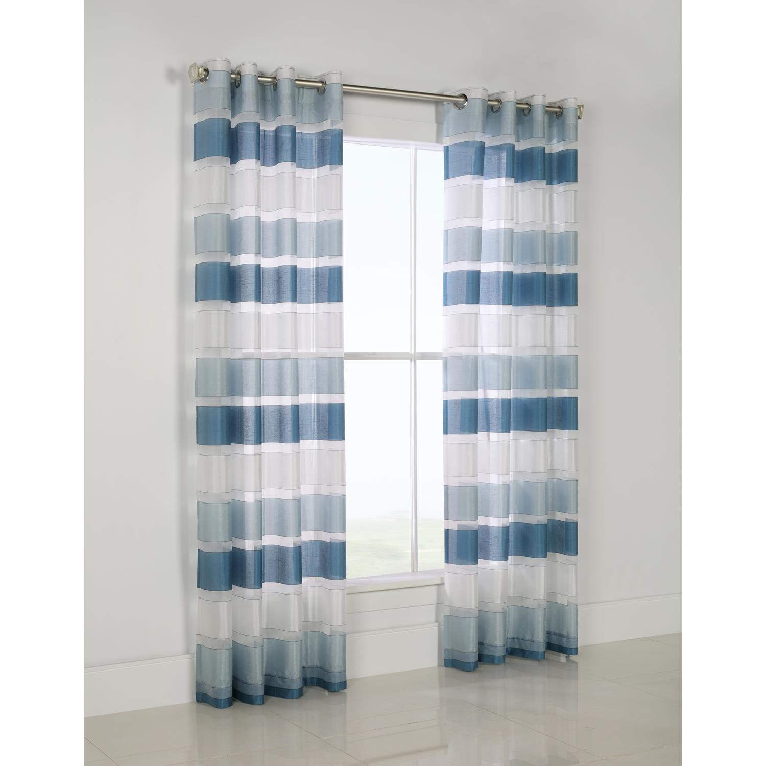 Commonwealth Habitat Andorra Grommet Top Curtain Panel Teal Stripe