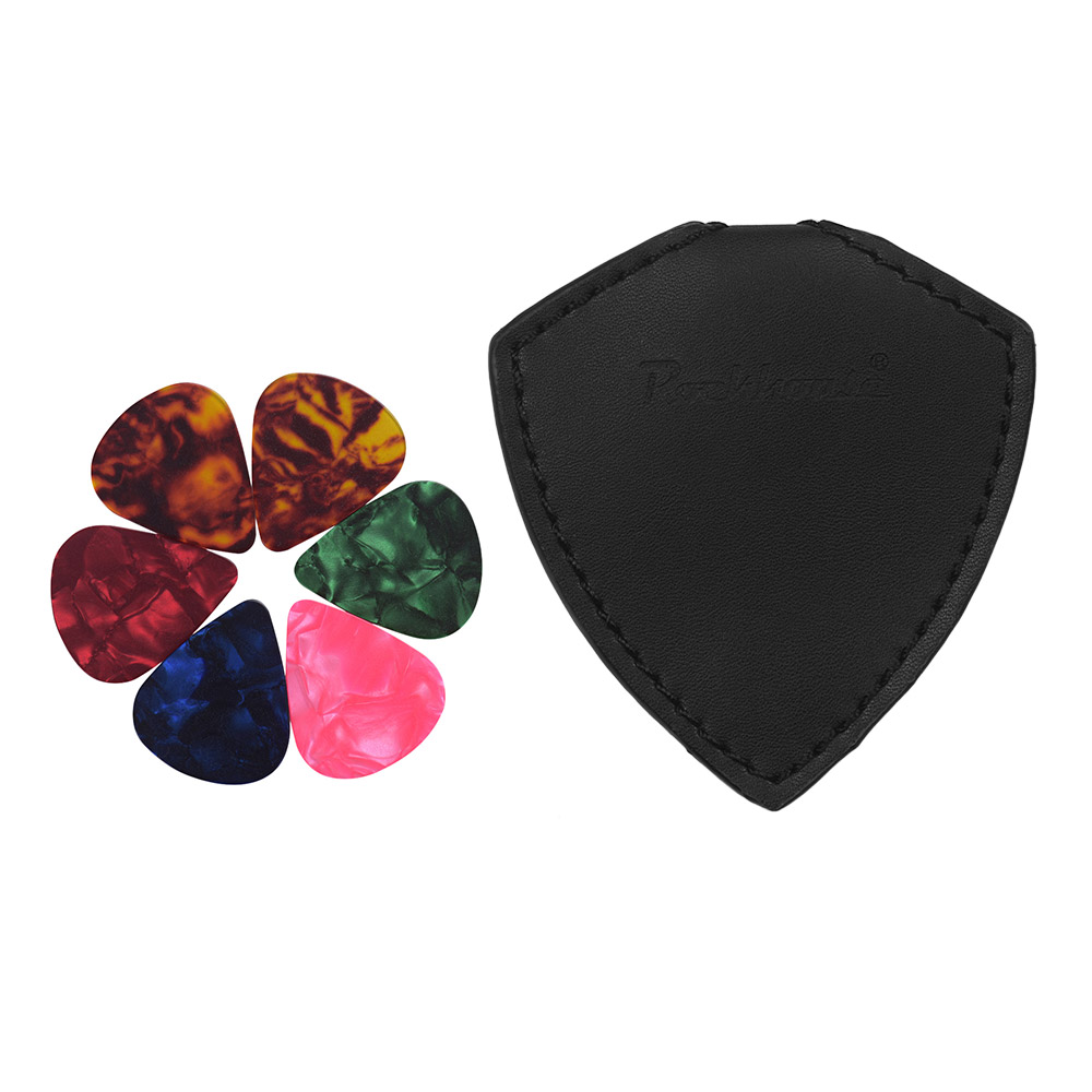 NEW PU LEATHER WALLET POUCH INCLUDES 12 ASSORTED GUITAR PICKS PLECTRUMS