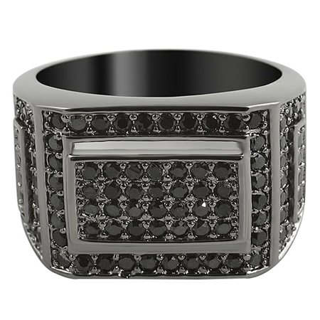 Black Iced Out Ring CZ Micro Pave Mens
