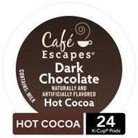 Cafe Escapes Dark Chocolate Hot Cocoa K-Cup Pods, 24 Count for Keurig Brewers