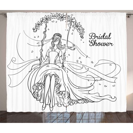 Bridal Shower Curtains 2 Panels Set Sketchy Black And White Hand Drawn Bride With Floral