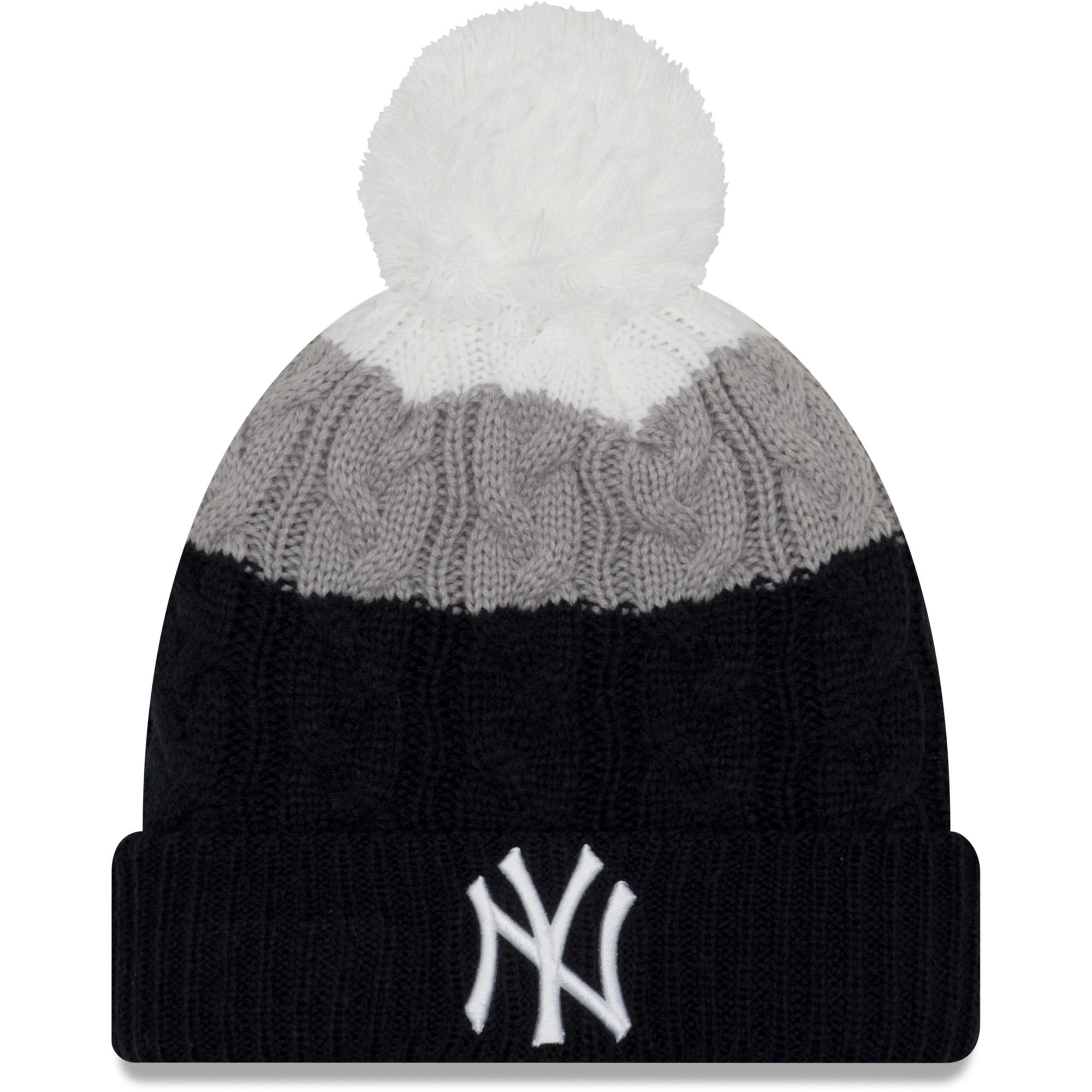 New York Yankees New Era Women's Layered Up 2 Cuffed Knit Hat with Pom Navy OSFA by NEW ERA CAP COMPANY