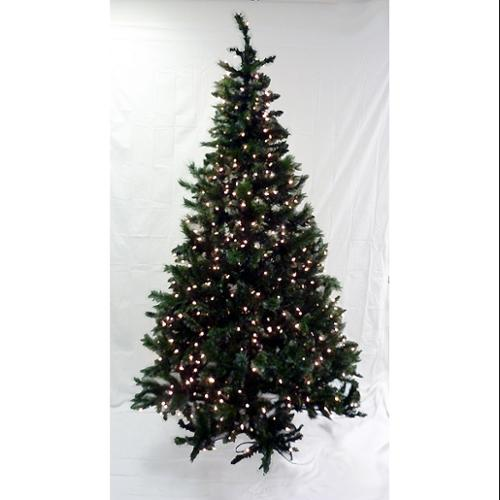 6.5' Pre-Lit Frosted Mixed Green Pine Artificial Christmas Tree - Clear Lights