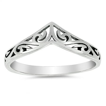 Filigree Celtic Chevron Thumb Ring 925 Sterling Silver Victorian Band Size 4