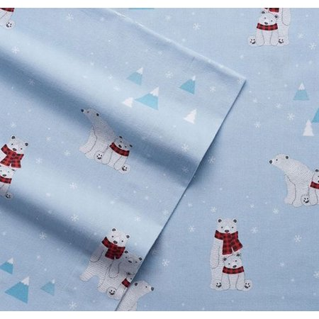 Cuddle Duds Blue Polar Bears Flannel Sheet Set Queen Bed Sheets