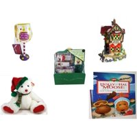 "Christmas Fun Gift Bundle [5 Piece] - I Just Rescued Some Wine"" Wine Glass Ornament -  Village ""Red River Restaurant"" Lighted Porcelain House - Believe In Miracles! Stationary Gift Set - TY Classic"