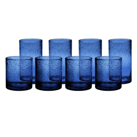 Artland Iris Slate Blue Seeded 8 Piece Double Old Fashioned Glass and Highball Tumbler Set Blue Murano Glass