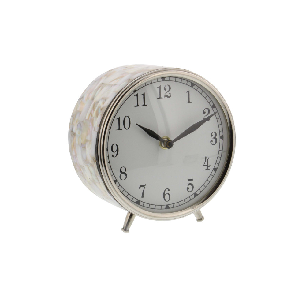 Intriguing Stainless Steel Inlay Table Clock, Marble Look by Benzara