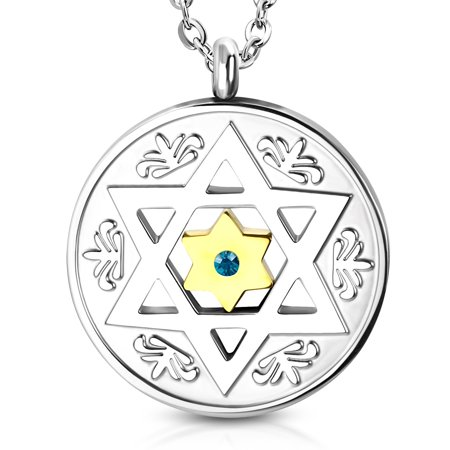 Stainless Steel Two-Tone Blue CZ Jewish Star of David Round Men's Pendant Necklace, 22