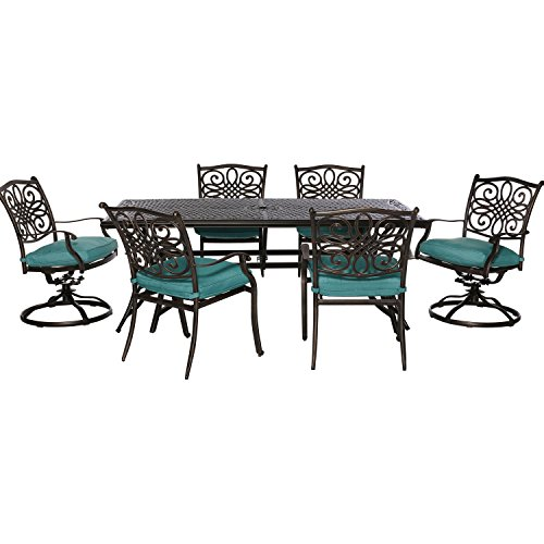 Hanover Outdoor Traditions 7-Piece Dining Set with 2 Swivel Rockers, Ocean Blue