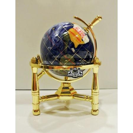 Unique Art 6-Inch Tall Blue Pearl Swirl Ocean Mini Table Top Gemstone World Globe with Gold Tripod Stand (Mini Globes)