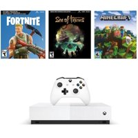 Microsoft Xbox One S 1TB All Digital Edition 3 Game Bundle (Disc-free Gaming), White, NJP-00050