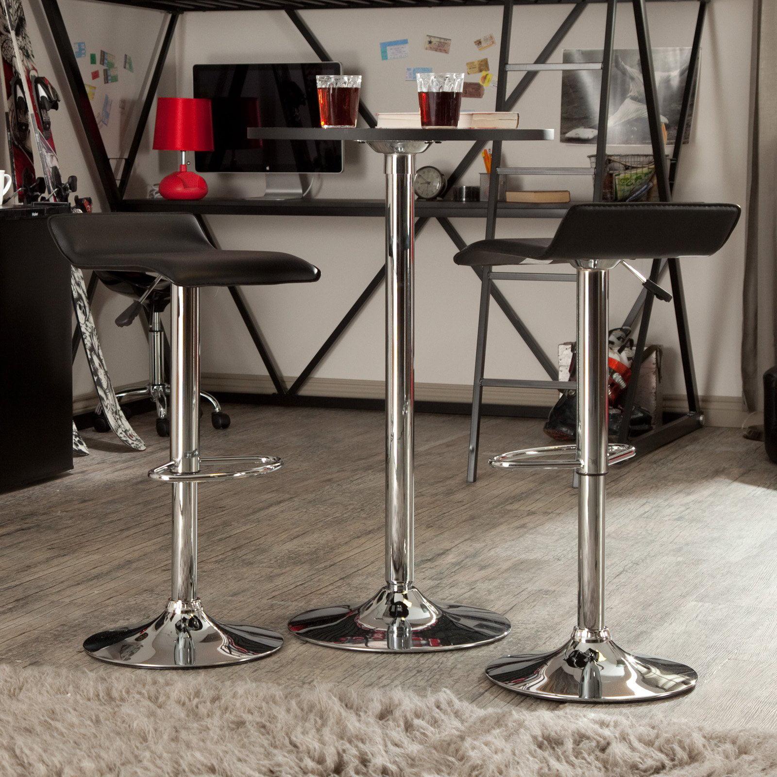 Winsome Wood Spectrum Pub Table Stools 3pc Set Black Chrome