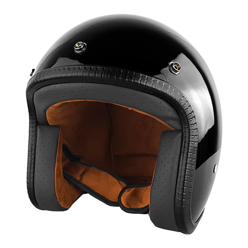 3 4 Open Face Motorcycle Helmet with Visor Gloss Black by RS Helmets