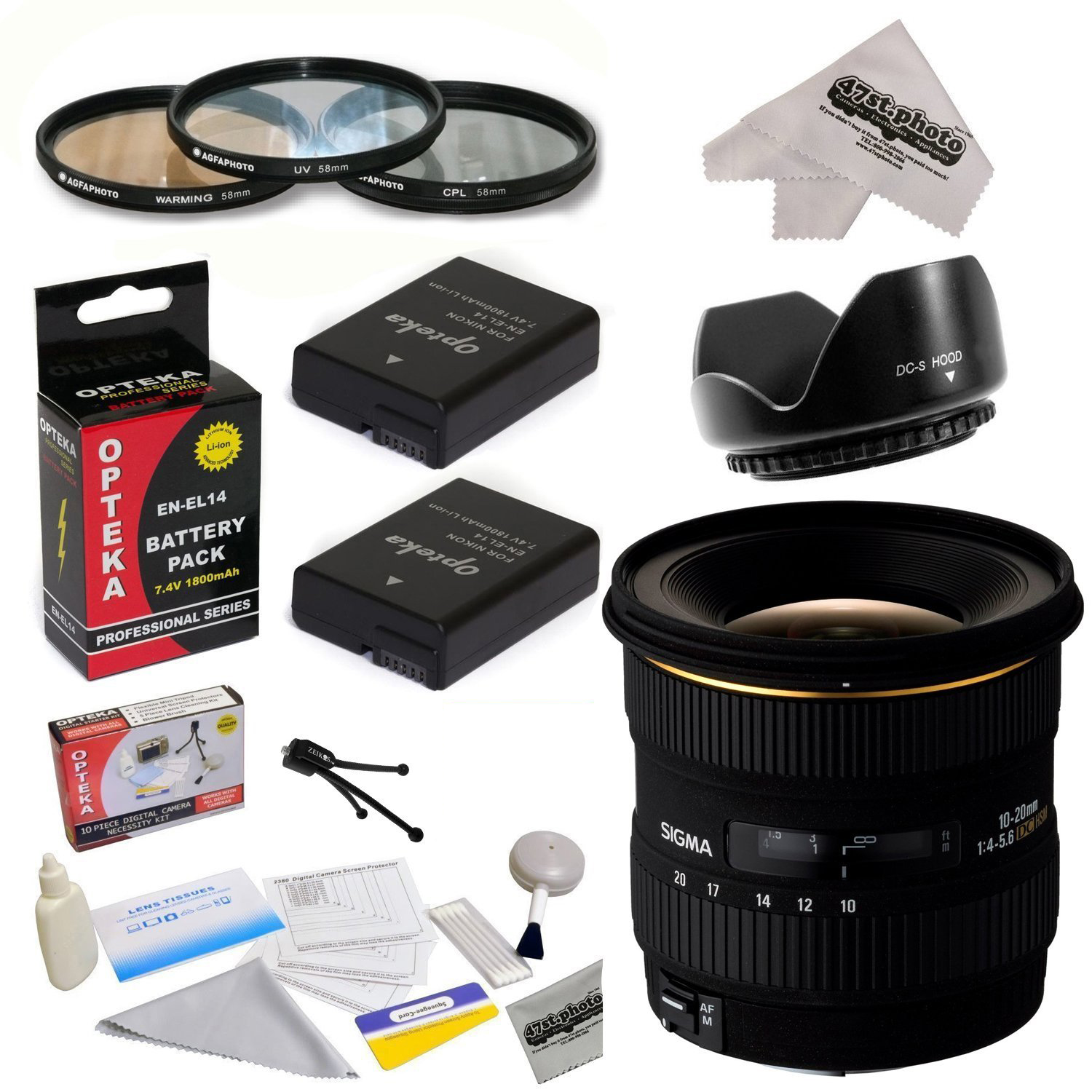 Sigma 10-20mm f/4-5.6 EX DC HSM Autofocus Lens for Nikon D3100, D3200, D3300, D5100, D5200, D5300 with 3 Piece Pro Filter Kit, Lens Hood, 2 EN-EL14 Batteries, Cleaning Kit, Microfiber