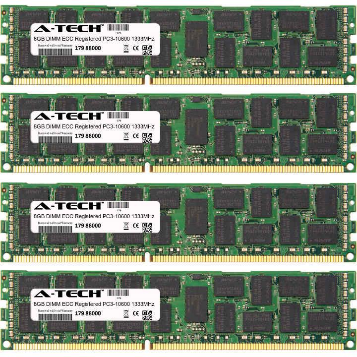 32GB Kit 4x 8GB Modules PC3-10600 1333MHz ECC Registered DDR3 DIMM Server 240-pin Memory Ram