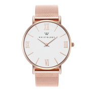 Stella roman numeral rose gold womens watch with 18mm rose gold metal mesh interchanageable watch band SC014