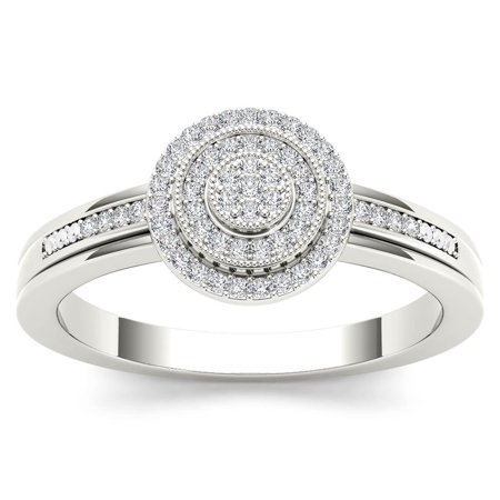 Imperial 1/6 Carat T.W. Diamond Cluster Double Halo 10kt White Gold Engagement Ring
