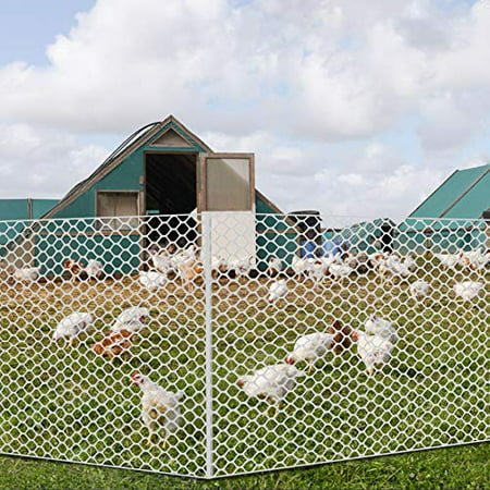V Protek Plastic Poultry Netting - 5x100ft High Strength Poultry Fence, Chicken Net Fence for Flower Plants Support,White