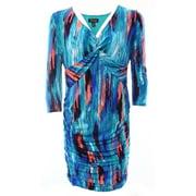 Thalia Sodi NEW Blue Green Womens Size Medium M Abstract Gather Sheath Dress $89