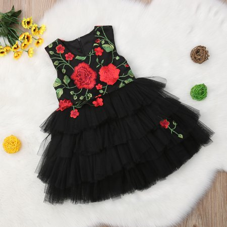 a4b79acb35 Kids Baby Girl Dress Floral Rose Princess Dress Party Dress Tutu Lace  Formal Pageant Dress Outfit - Walmart.com