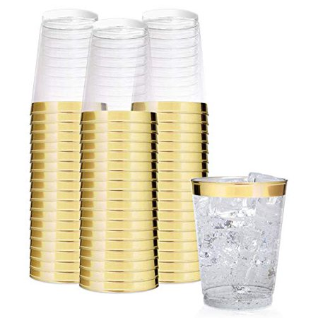 Gold Plastic Goblets Cheap (Stock Your Home 1081 10 oz Gold Rim Plastic Tumblers, Pack of)