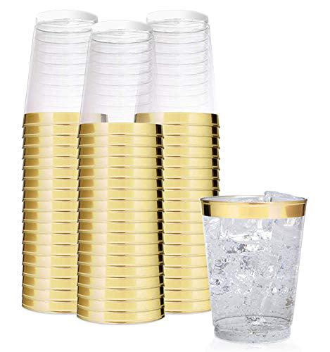 Stock Your Home 10 oz Hard Plastic Tumbler 100 Pack - Gold Rim