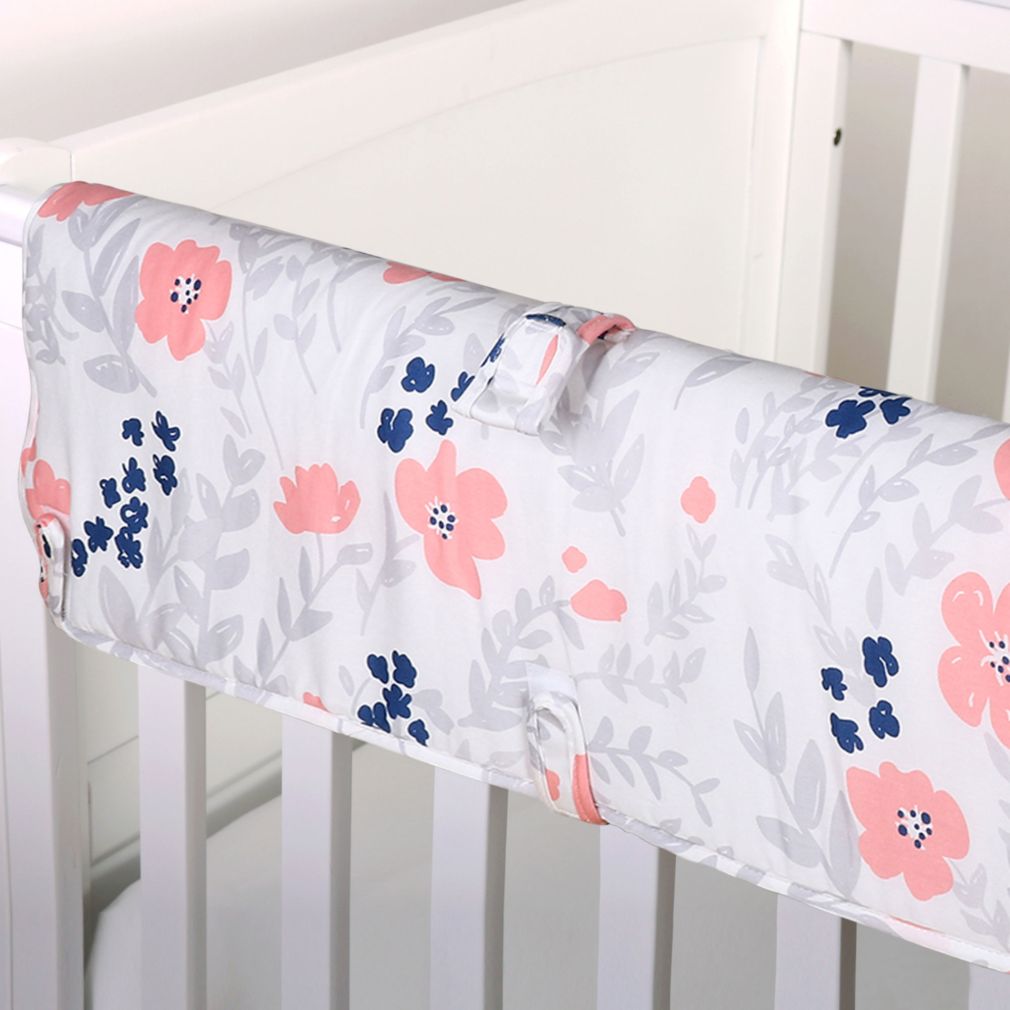 The Peanut Shell Baby Crib Rail Guard - Coral Pink and Navy Blue Floral Print - 100% Cotton Sateen Cover, Polyester Fill