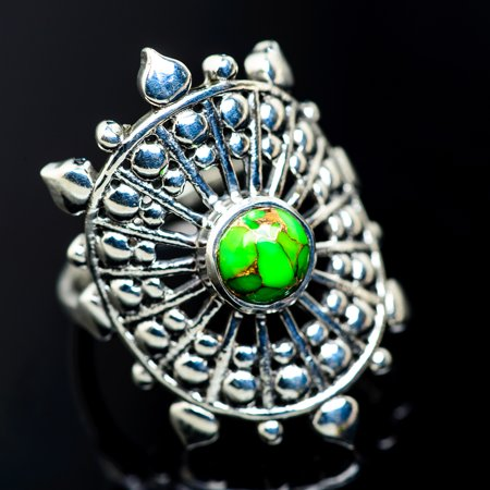Green Copper Composite Turquoise Ring Size 7.75 (925 Sterling Silver)  - Handmade Boho Vintage Jewelry RING956303 (Ana Silver Tanzanite Rings)