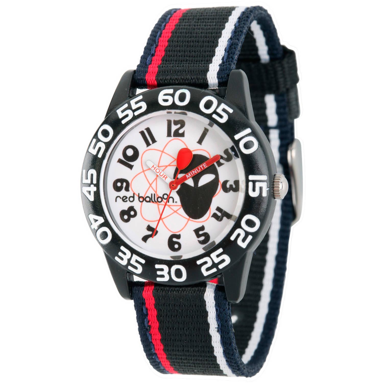 Red Balloon Boys' Black Plastic Time Teacher Watch, Stripe Nylon Strap