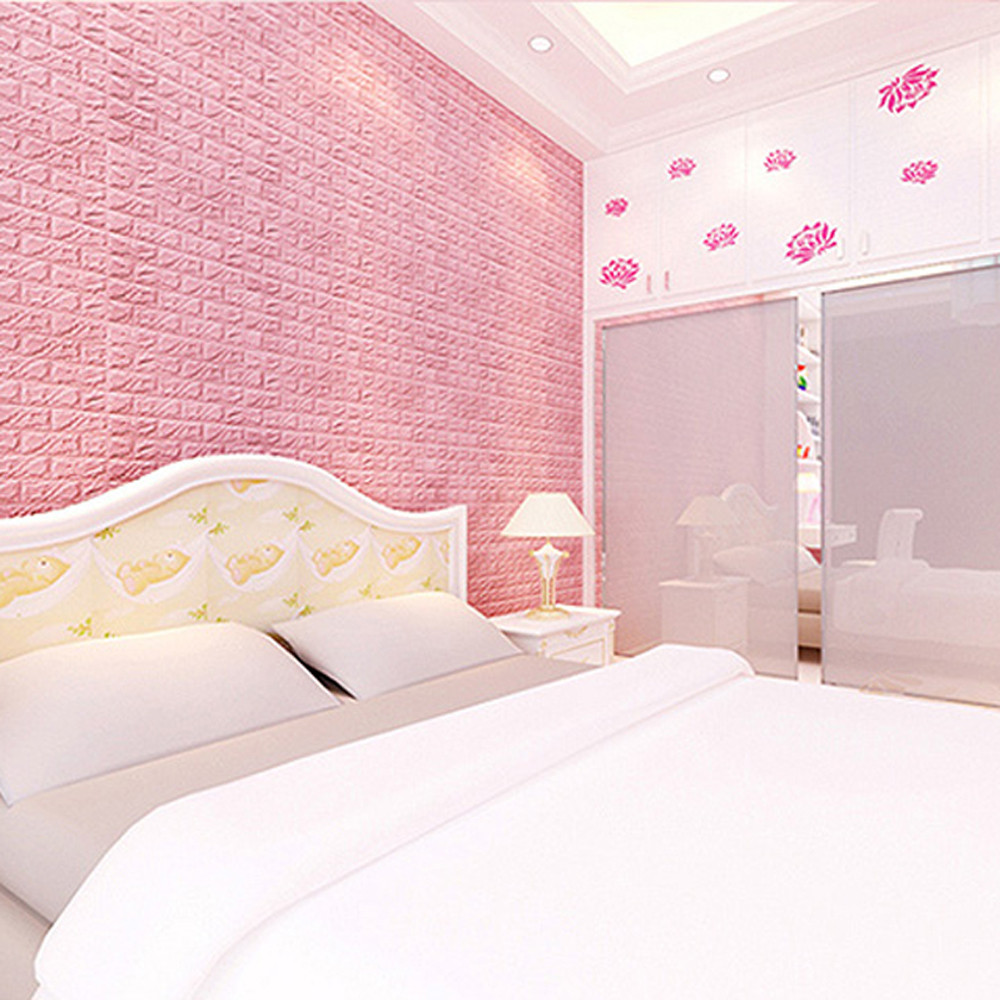 New PE Foam 3D DIY Wall Stickers Wall Decor Embossed Brick Stone White