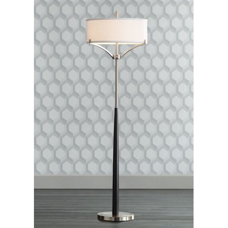 - 360 Lighting Modern Floor Lamp Black and Brushed Steel Column White Linen Drum Shade for Living Room Reading Bedroom Office