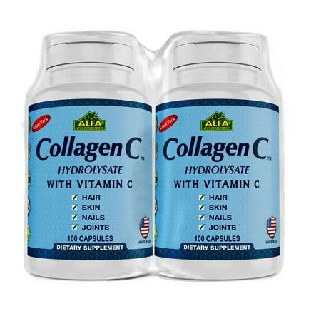 Image of Alfa Vitamins Collagen C Hydrolysate with Vitamin C 100 capsules - Value Pack