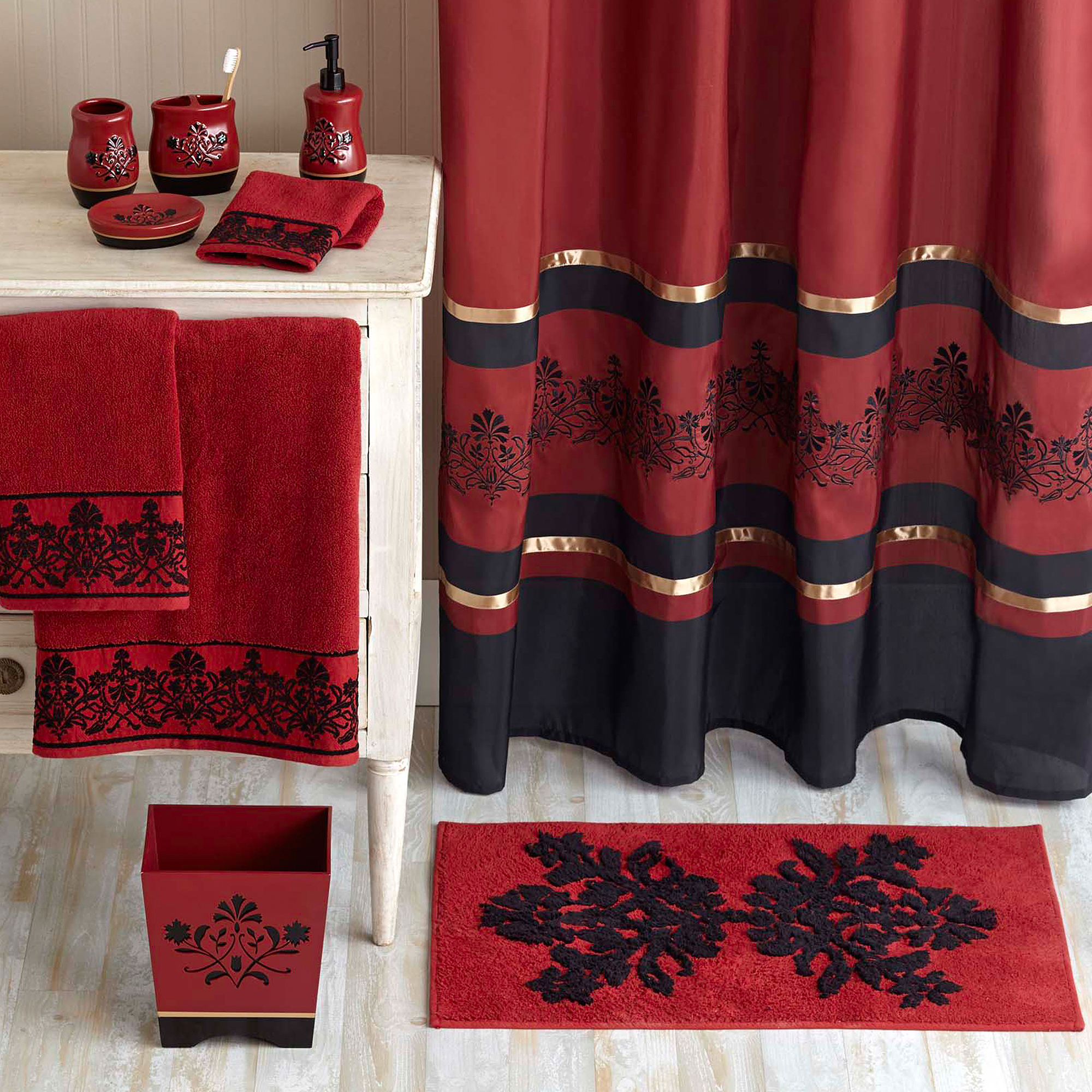 Better Homes and Gardens Red Scroll Decorative Collection - Bath Rug
