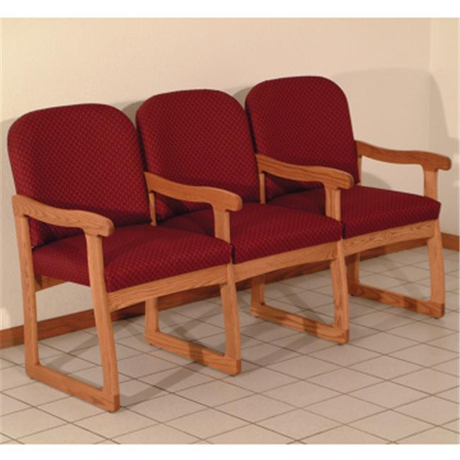 Wooden Mallet Prairie Three Seat Chair with Center Arms in Medium Oak