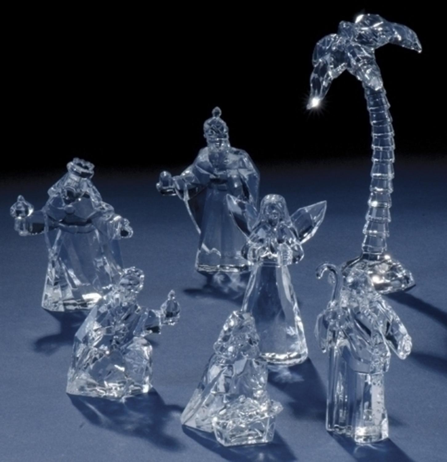 7-Piece Icy Crystal Holy Family and Three Kings Christmas Nativity Figurine Set