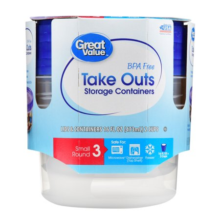 Great Value Take Outs Storage Containers, BPA Free, Small Round, 3 Count