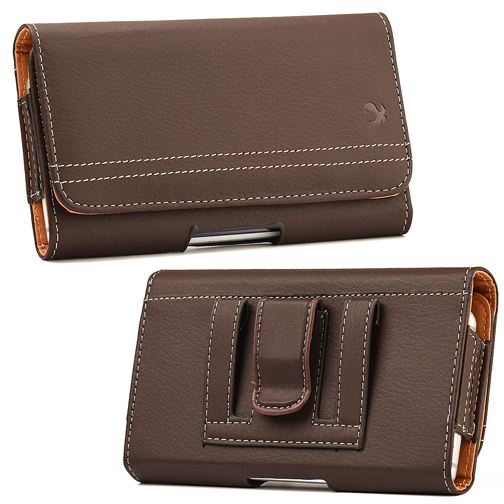 ZTE Majesty Pro LTE / Pro Plus Holster Case - Premium Brown Synthetic PU Stitched Leather Executive Belt Clip Holster Pouch Horizontal Carrying Case [Loops | Card Slot] (Fits Slim Cases), Atom LED