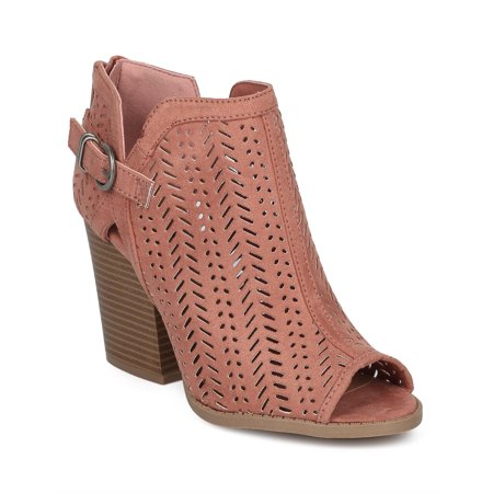 Women Perforated Chunky Block Heel Bootie - Buckled Laser Cut Ankle Boot - Festival Trendy Versatile Dressy Casual - HD43 by Qupid Collection