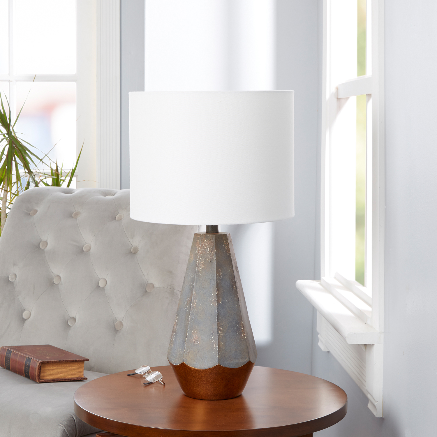"Silverwood Rustic Prism Table Lamp with Gold Accent, 25""H"