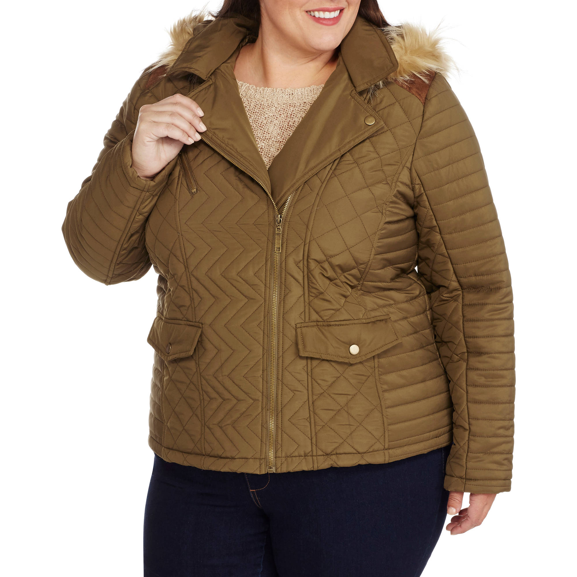 Maxwell Studio Women's Plus-Size Quilted Chevron Puffer Coat with Fur-Trim Hood